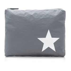 Travel Pack - Makeup Pouch - Medium Pack - Cool Gray with Silver Star