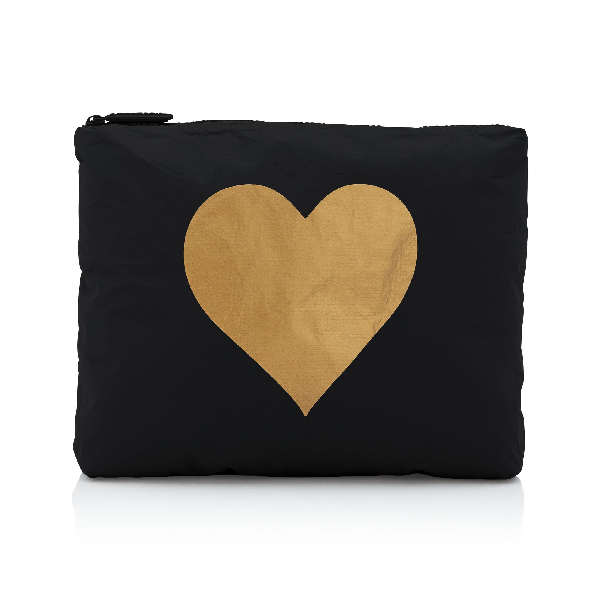 Toiletry Bag - Hi Love Travel Pouch - Medium Pack - Black with Gold Heart