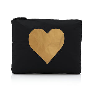 Makeup Pouch - Toiletry Bag - Travel Pouch - Medium Pack - Black with Metallic Gold Heart