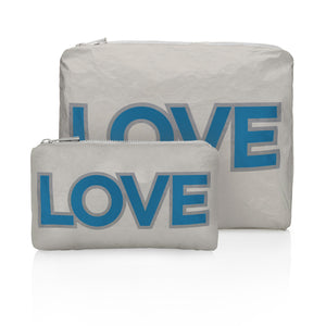 "One of a Kind! Set of Two- Gray with Blue ""LOVE"""