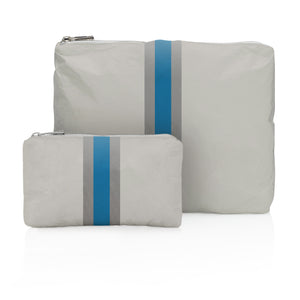 One of a Kind! Set of Two- Gray with Blue Stripes