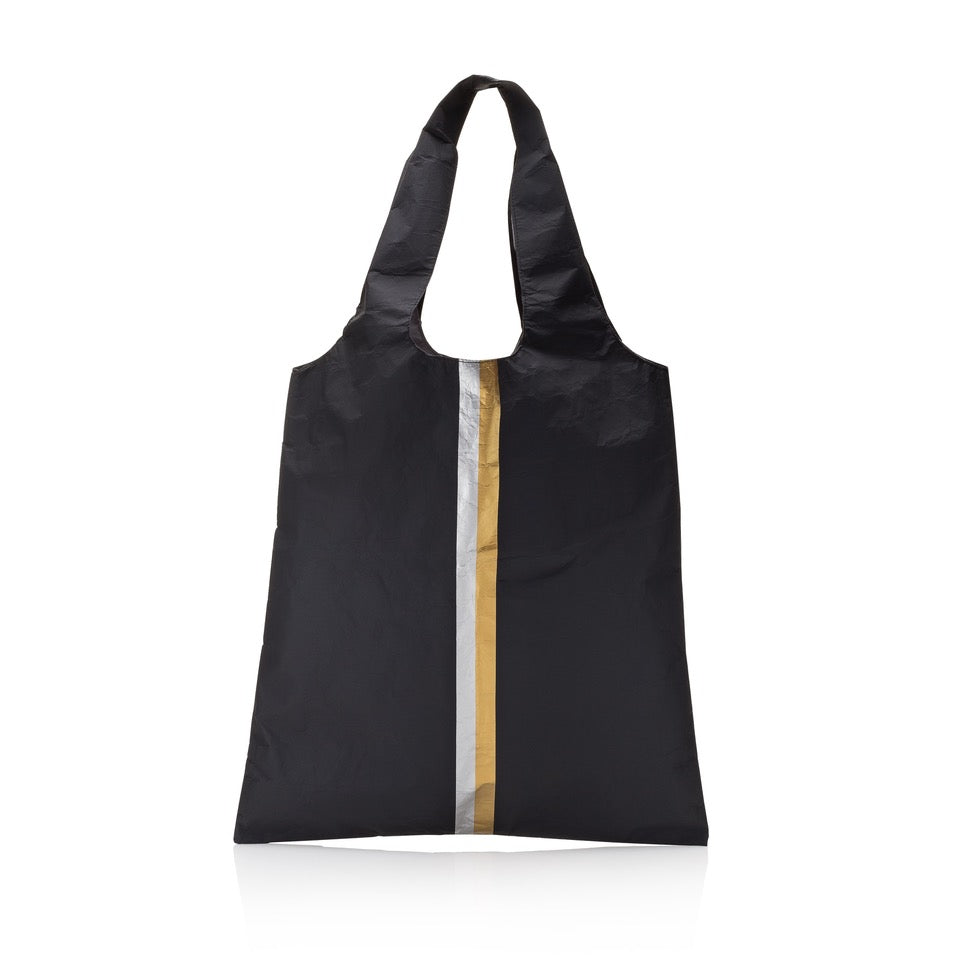 Carryall Tote - Black HLT Collection with a Double Metallic Line