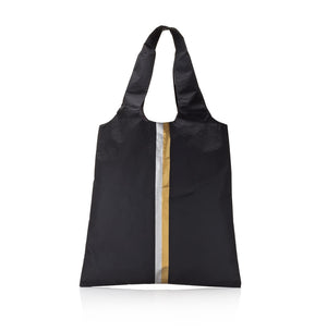 Carryall Tote - Black HLT Collection with Metallic Silver and Gold Stripes