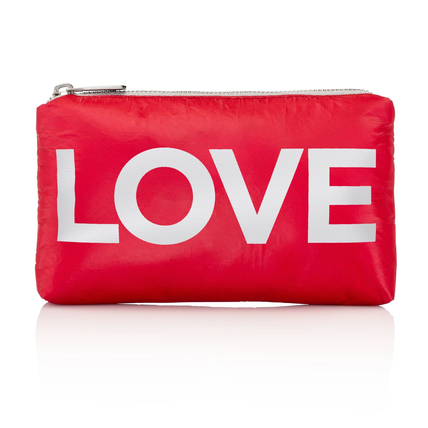 "Holiday Makeup Pouch - Chic Clutch - Mini Padded Pack - Chili Pepper Red with Metallic Silver ""LOVE"""