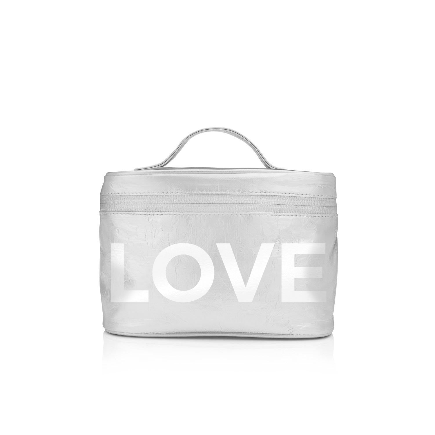 "Cosmetic Case - Lunch Box - Silver with White ""LOVE"""