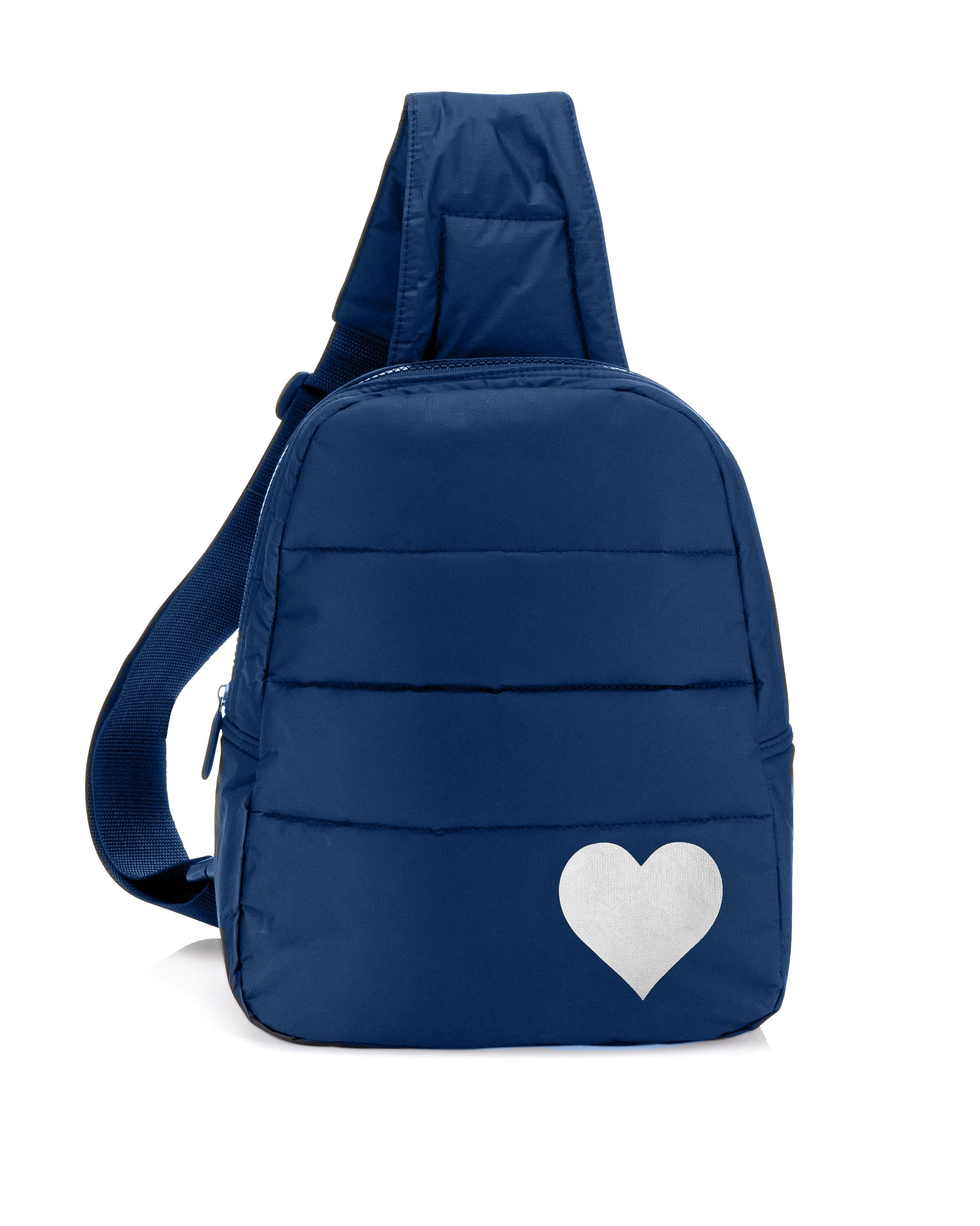 Cute Crossbody Fashion Hi Love Navy Backpack with Metallic Silver Heart