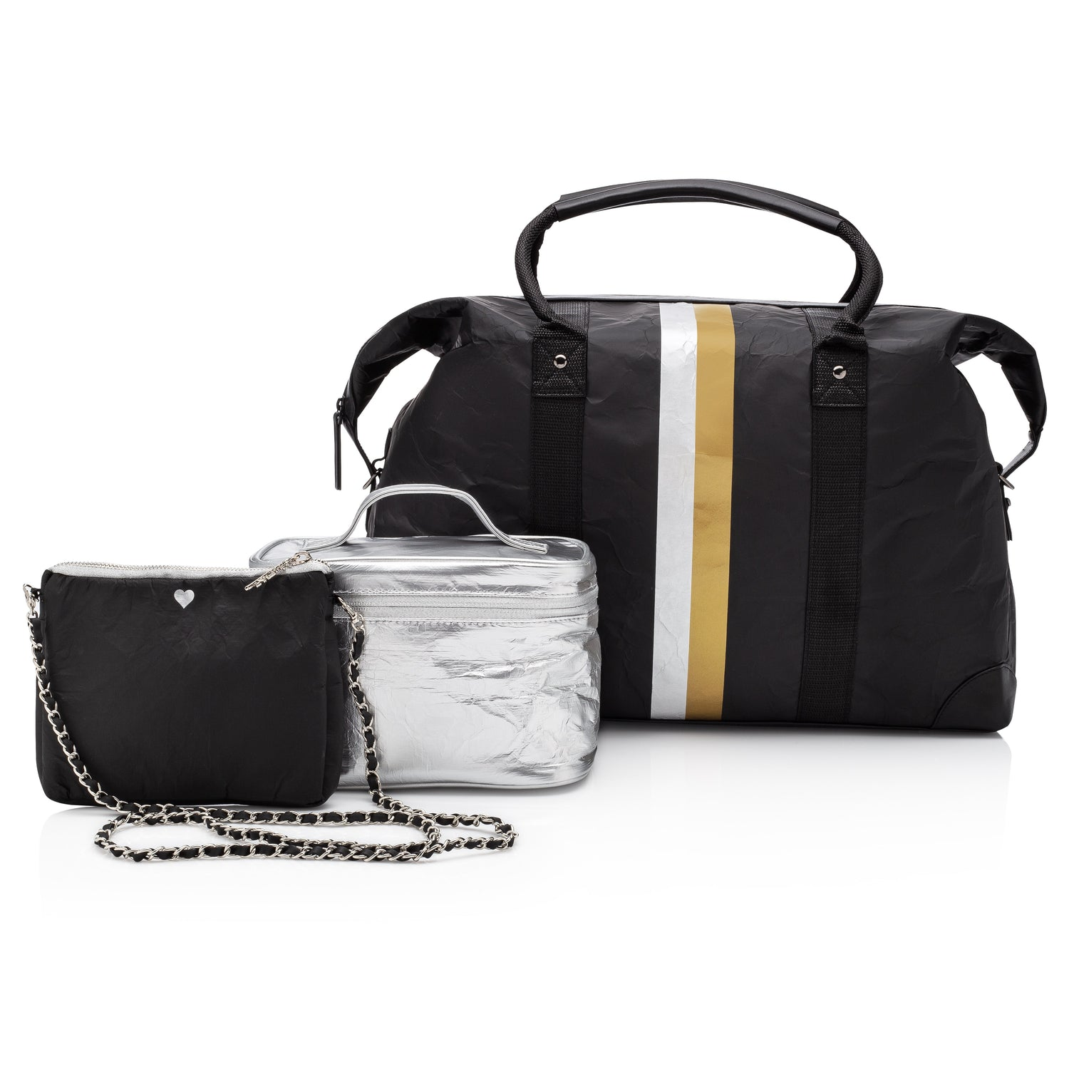 Black and silver splash-resistant travel bag set with weekender carry-on