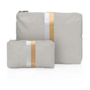 Set of Two - Earth Gray with Silver and Gold Stripes