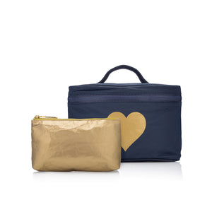 """Love Shines"" Set - Navy with Gold Heart Cosmetic Case - Lunch Box & Mini Gold Pack"