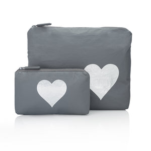 Set of Two - Cool Gray with Silver Heart