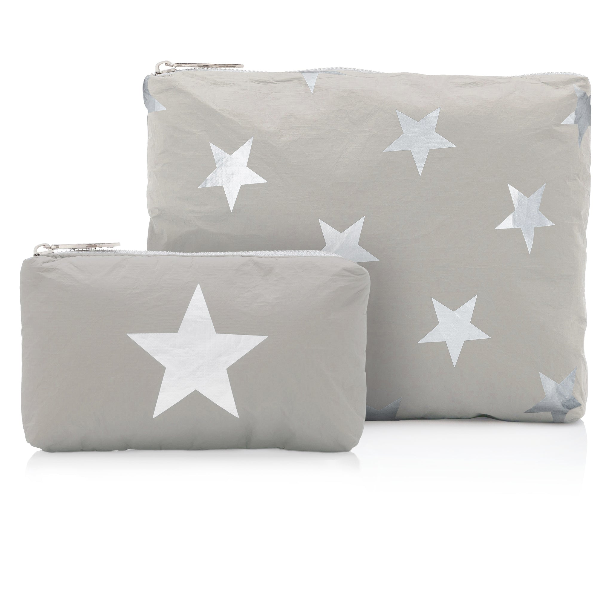 Set of Two - Earth Gray with Silver Stars