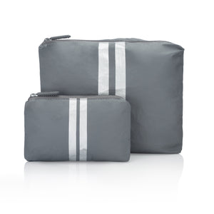 Travel Pouch - Set of Two Packs - Cool Gray with Metallic Silver Stripes