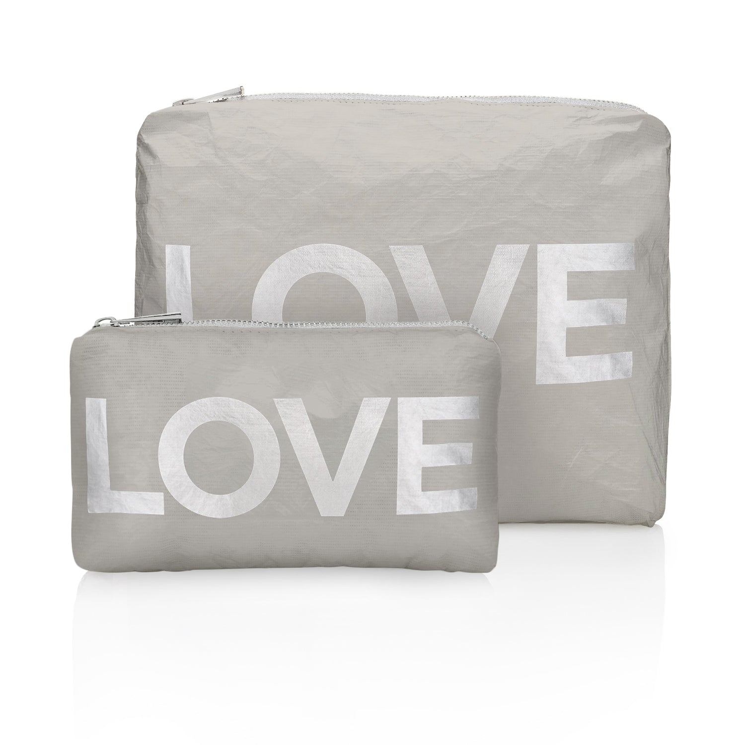 "Set of Two - Gray with Silver ""LOVE"""