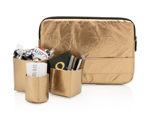 Hi Love Office Set - Metallic Gold Laptop Case, Pen Holder, and Card Holder