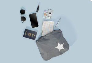 Travel Pack - Makeup Bag - Set of Three Packs - Cool Gray with a Metallic Silver Star