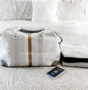 Hi Love The Weekender Travel Bag Carry On - Cute Weekend Duffle Bag – Gray with Metallic Silver and Gold Stripes