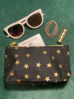 Chic Wallet - Cute Clutch - Mini Pack - Black with Myriad Gold Stars