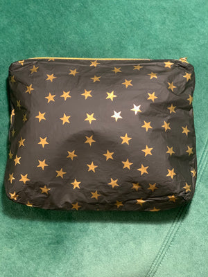 Holiday Travel Pouch - Chic Wallet - Toiletry Bag - Set of Two Packs - Hi Love Black with Myriad Gold Stars