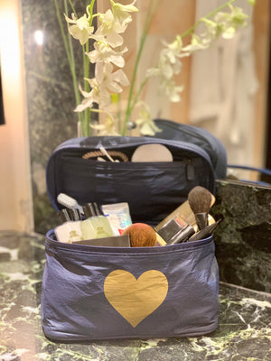 Cosmetic Case - Lunch Box - Navy with Gold Heart
