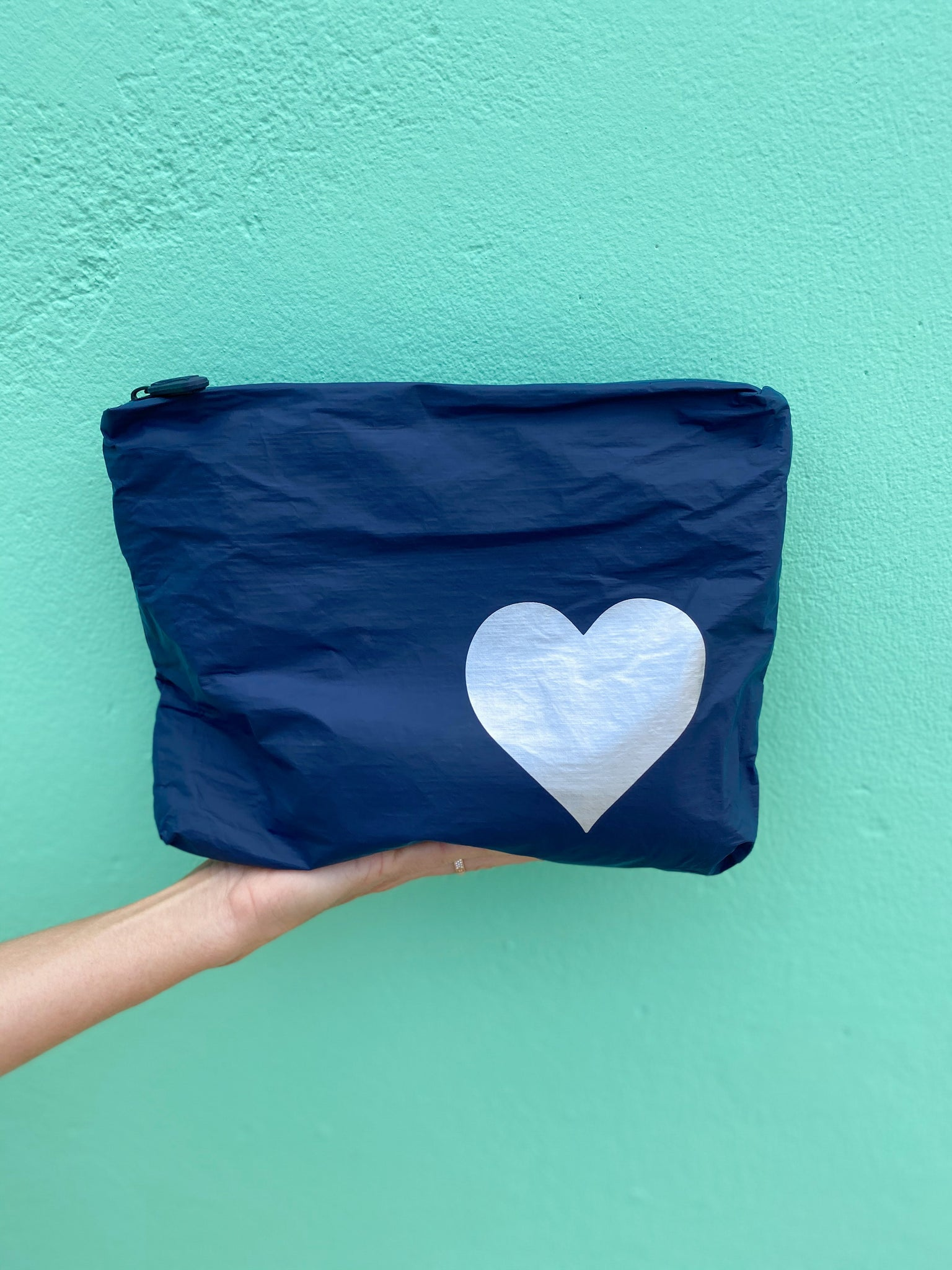 Makeup Pouch - Travel Pack - Toiletry Bag - Medium Pack - Navy with Metallic Silver Heart