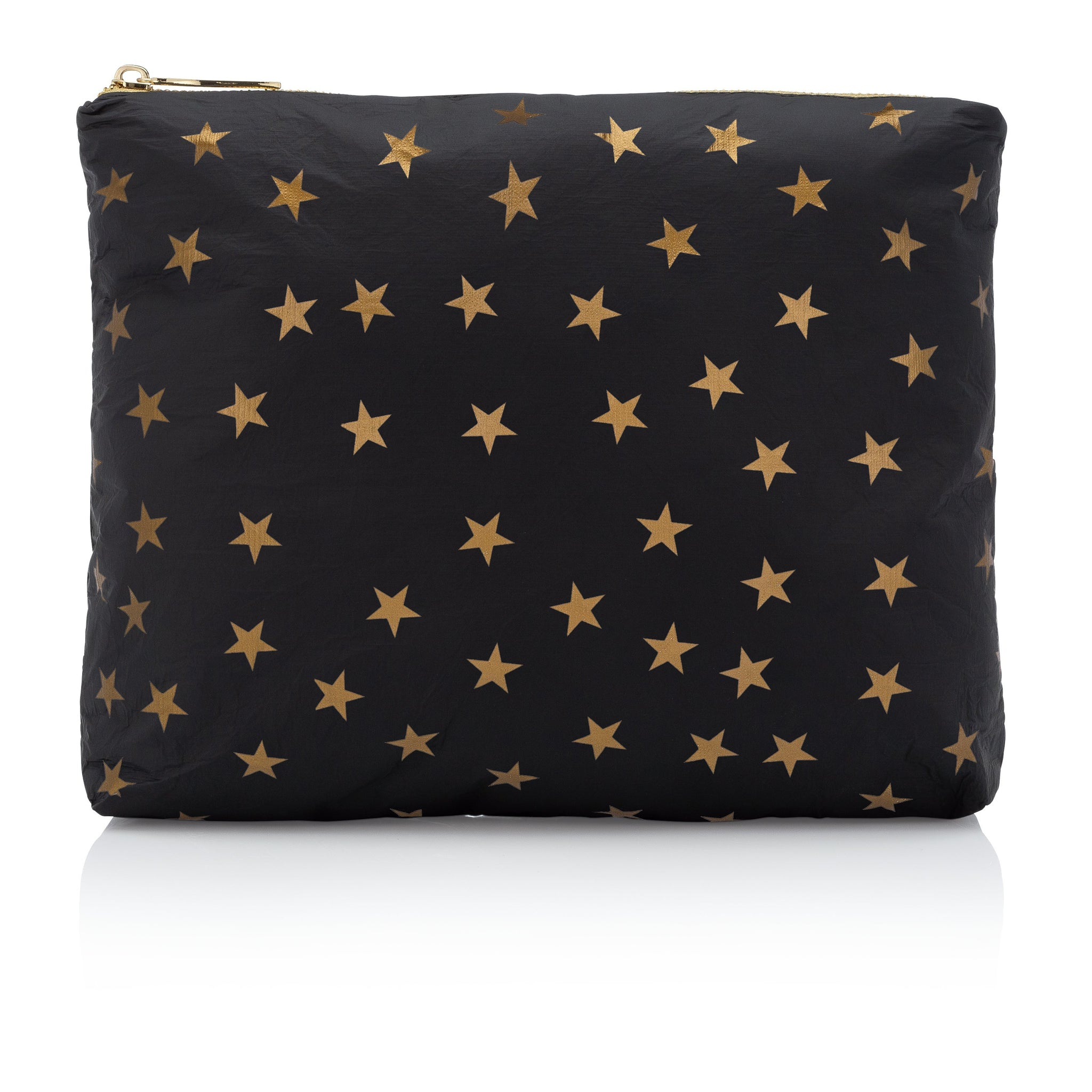 Makeup Pouch - Travel Pack - Toiletry Bag - Medium Pack - Black with Myriad Metallic Gold Stars