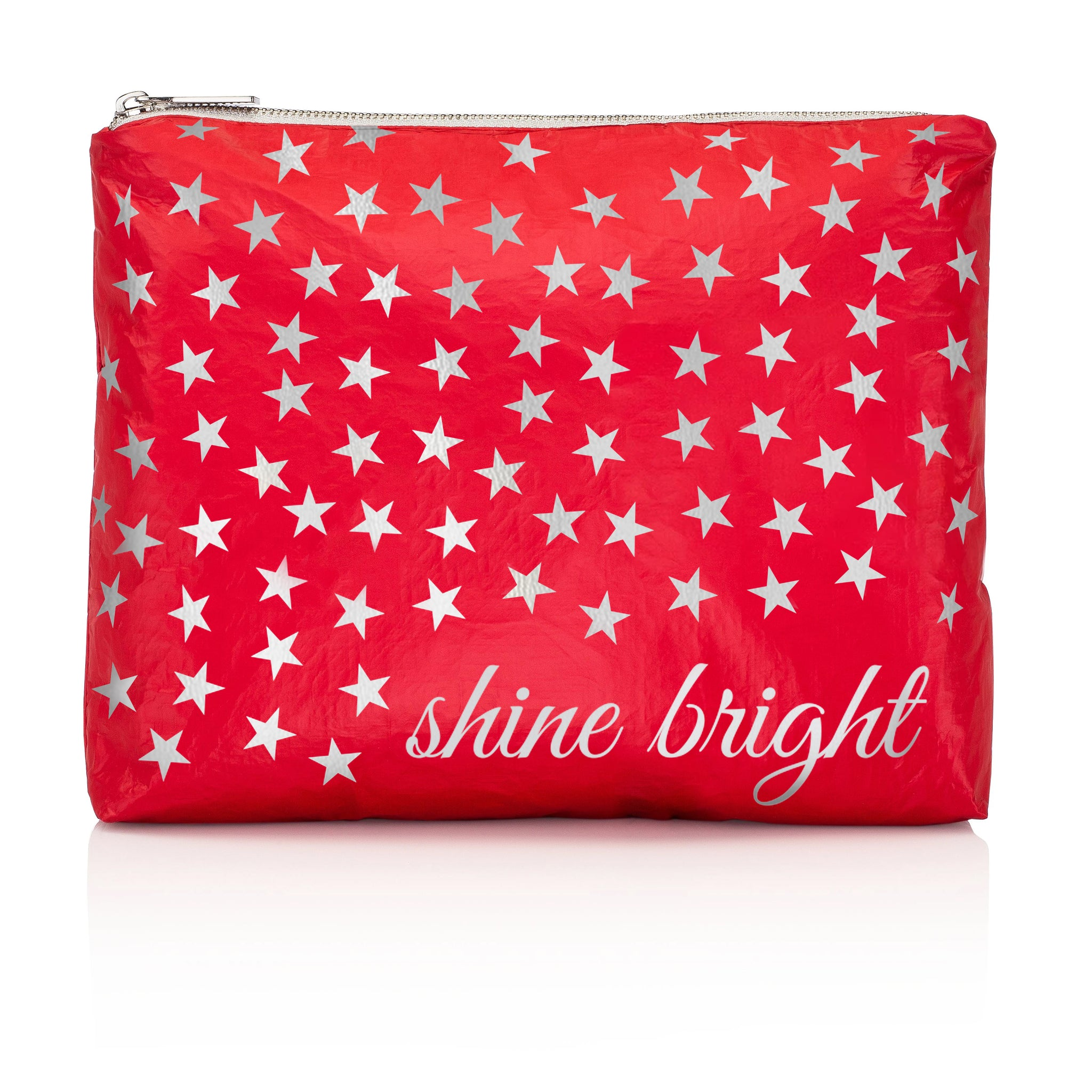 "Makeup Pouch - Travel Pack - Medium Pack - Chili Pepper Red with Metallic Silver ""Shine Bright"" - Metallic Silver Stars"