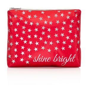 "Makeup Pouch - Travel Pack - Medium Pack - Chili Pepper Red ""Shine Bright"""