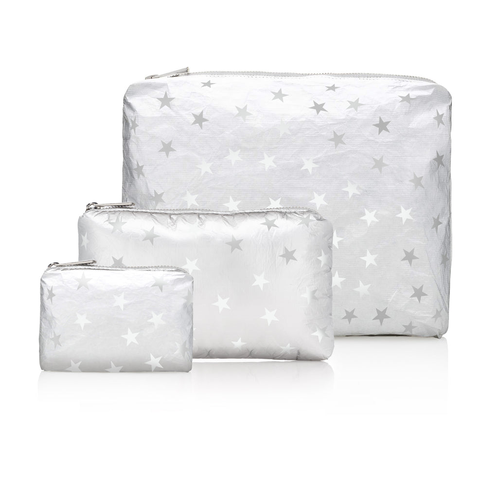 Set of Three Packs - Metallic Silver with Myriad of White Stars