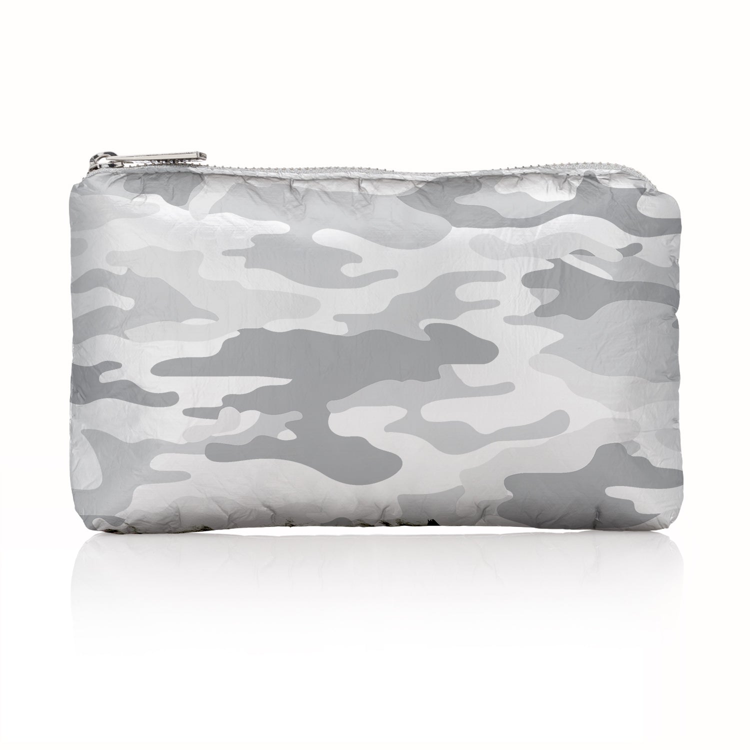 Camo Clutch - Camo Travel Bag - Camo Makeup Bag - Mini Pack - Metallic Silver Camo