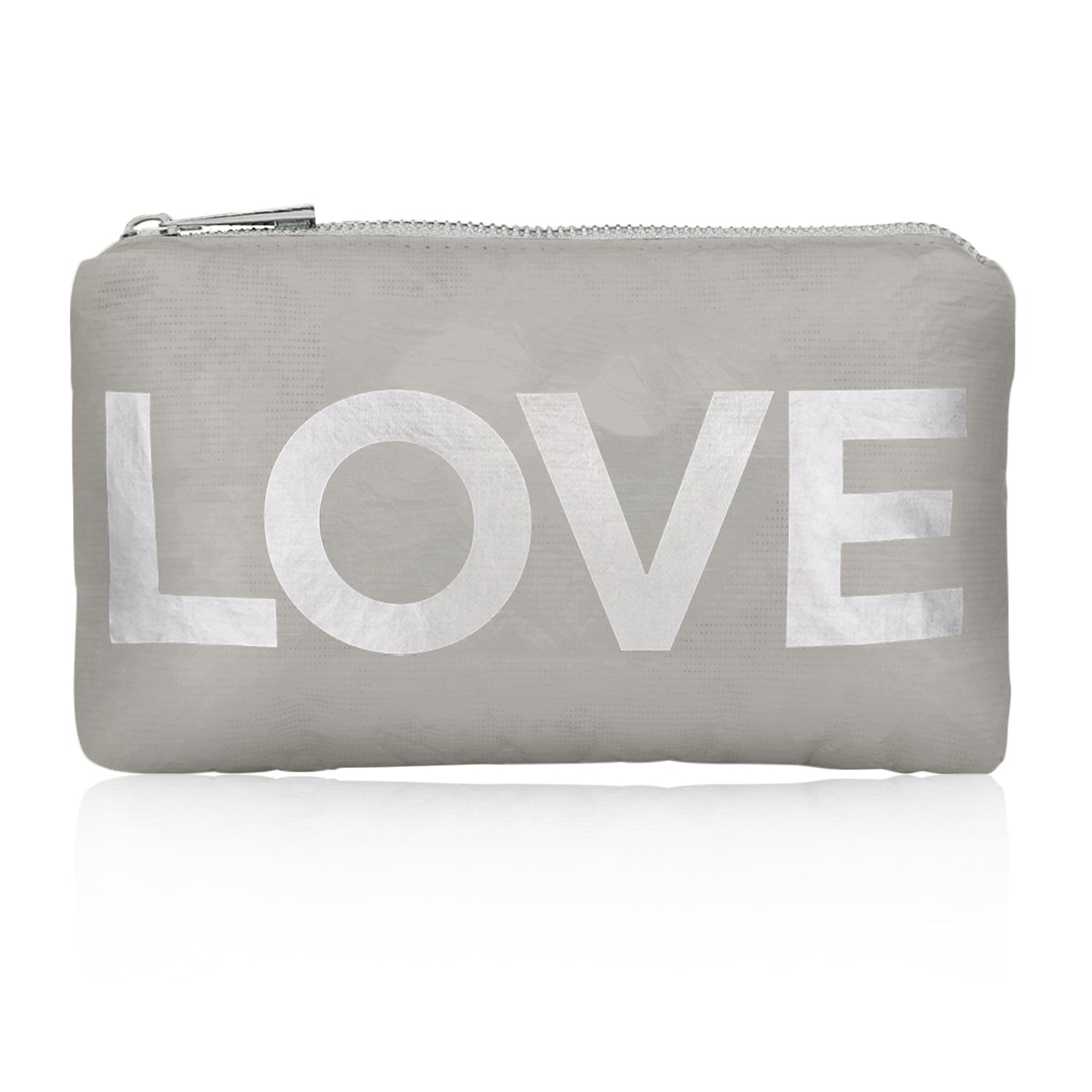 Mini gray travel pouch with metallic silver love emblem