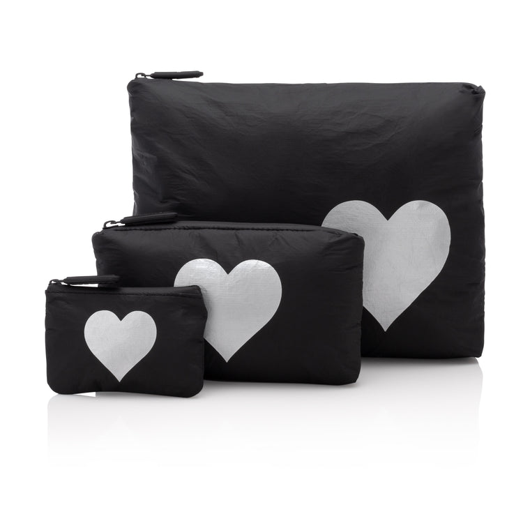 Set of Three Packs - Black HLT Collection with a Metallic Silver Heart