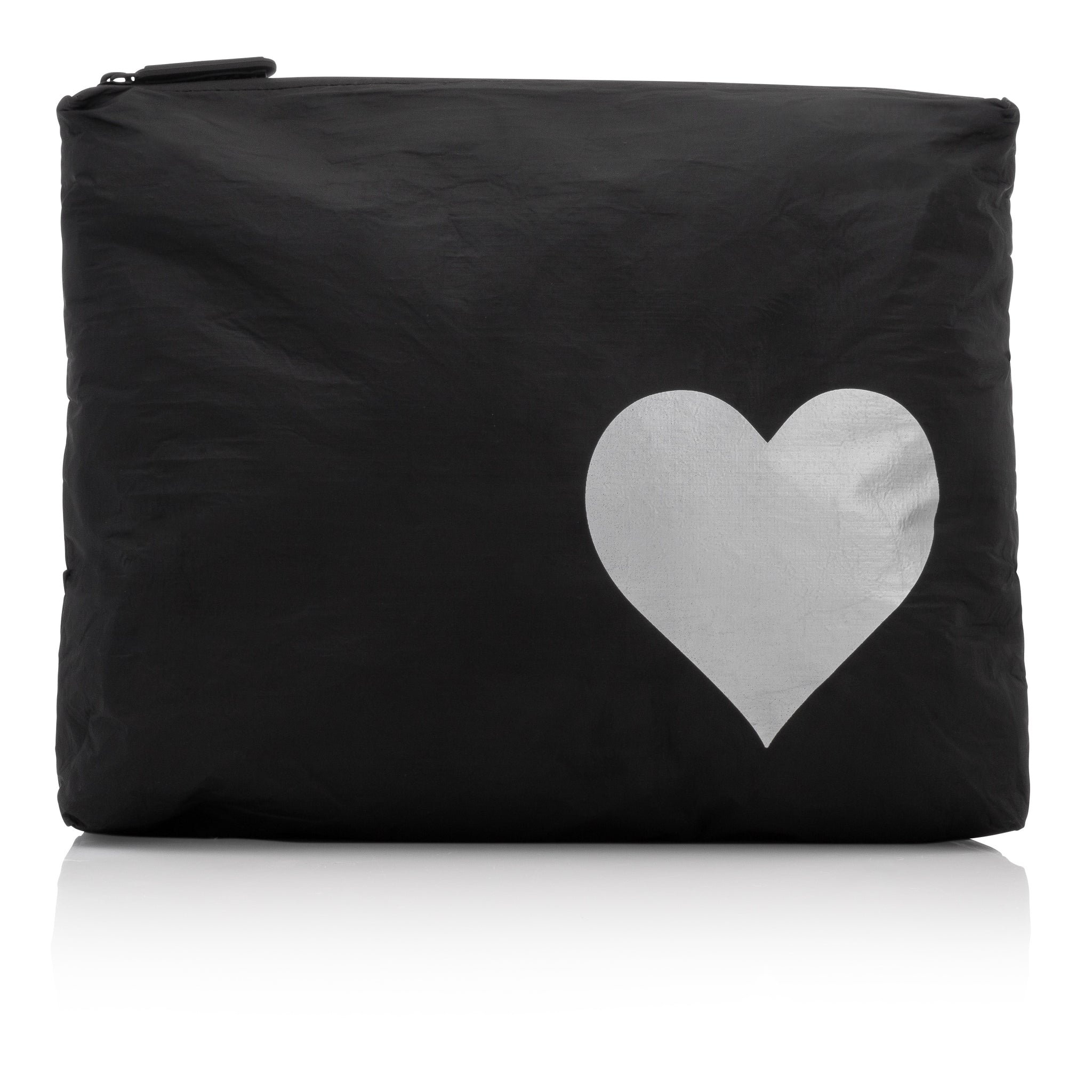 Makeup Pouch - Travel Pack - Medium Pack - Black with Metallic Silver Heart
