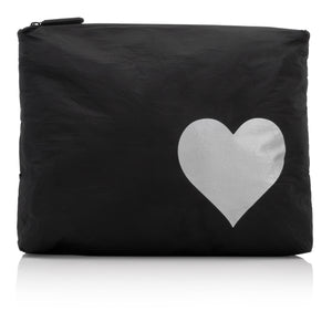 Makeup Pouch - Travel Pack - Medium Pack - Black with Silver Heart