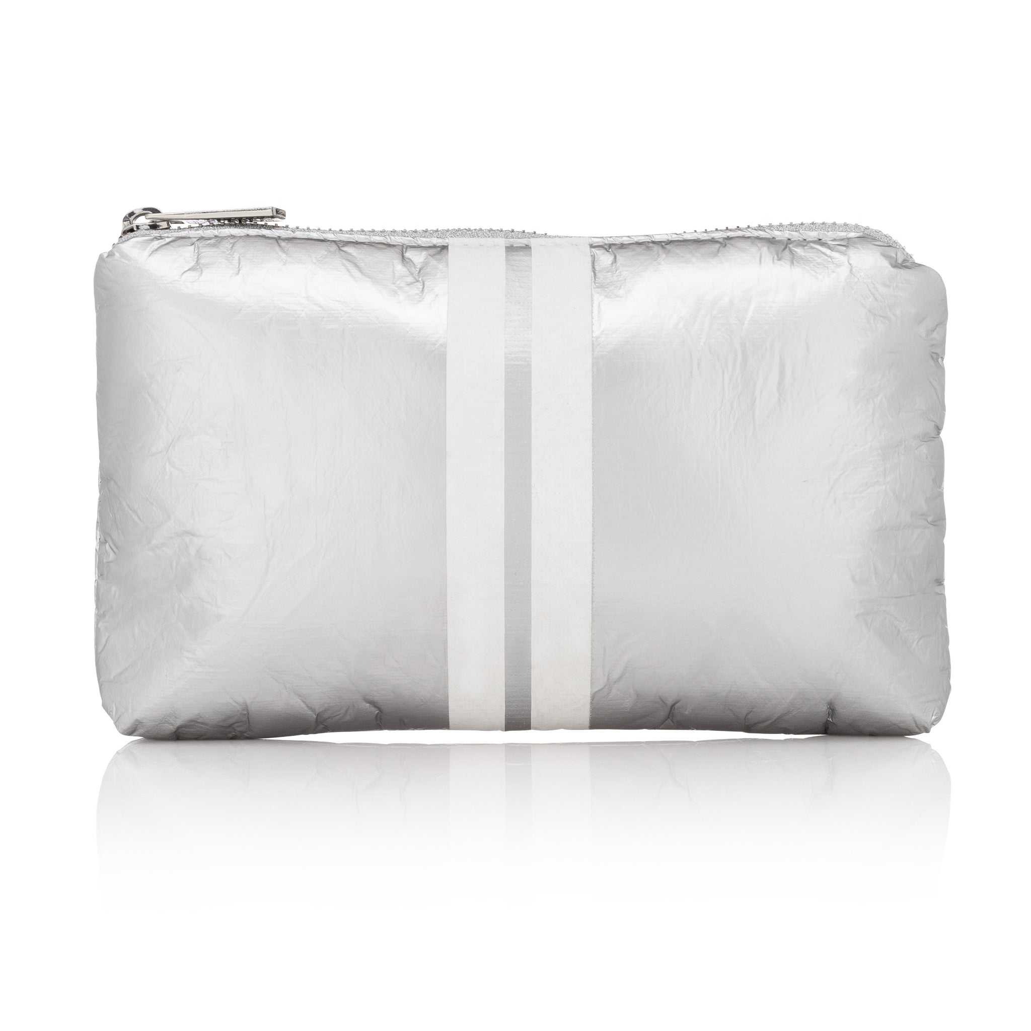Cute Travel Bag - Mini Padded Pack - Metallic Silver Collection with Shimmer White Stripes