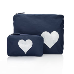Set of Two - Navy with Silver Heart