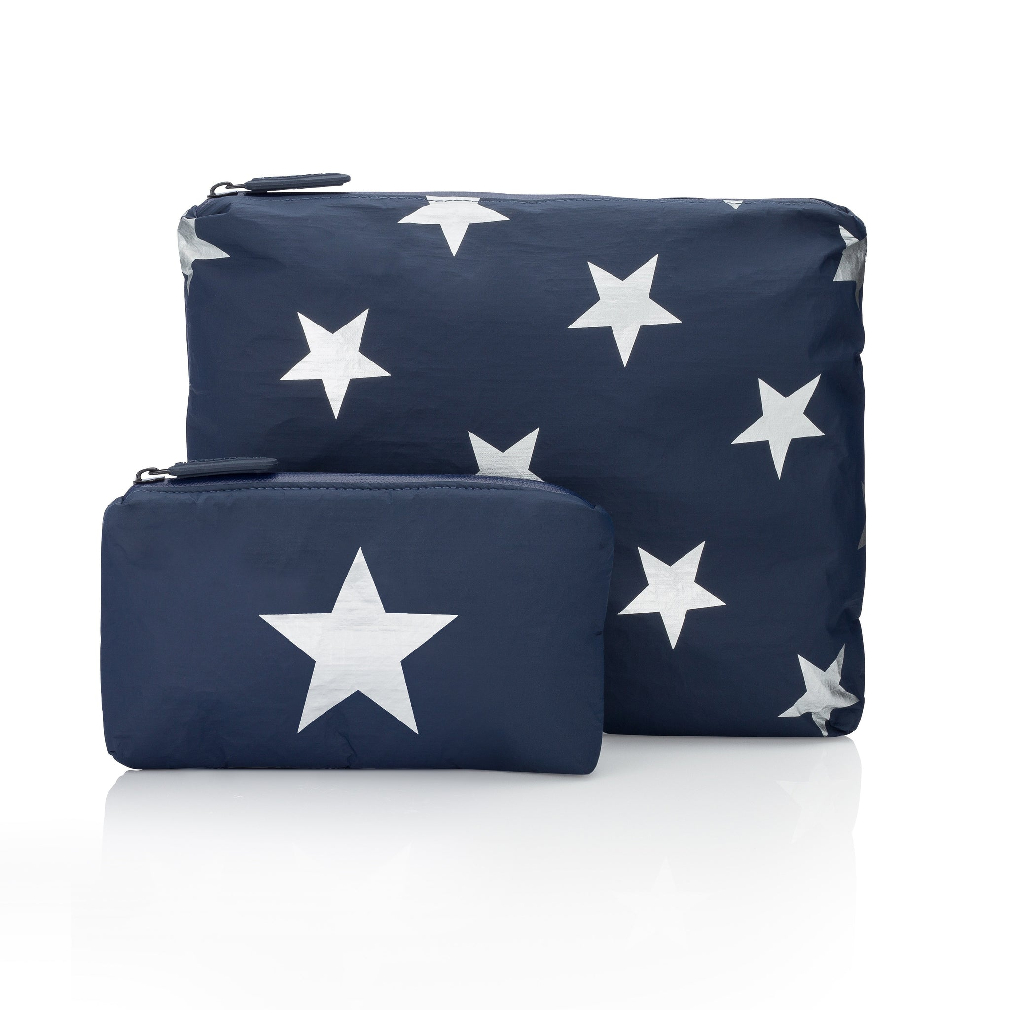 Set of Two Packs - Travel Pouches - Cosmetic Cases - Navy HLT Collection with a Metallic Silver Stars