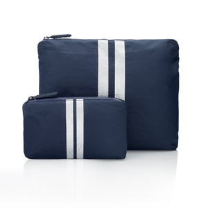Travel Pouches - Set of Two Packs - Navy with Metallic Silver Stripes