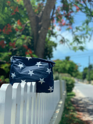 Set of Three Packs - Travel Pouches - Cosmetic Cases - Navy HLT Collection with a Metallic Silver Stars
