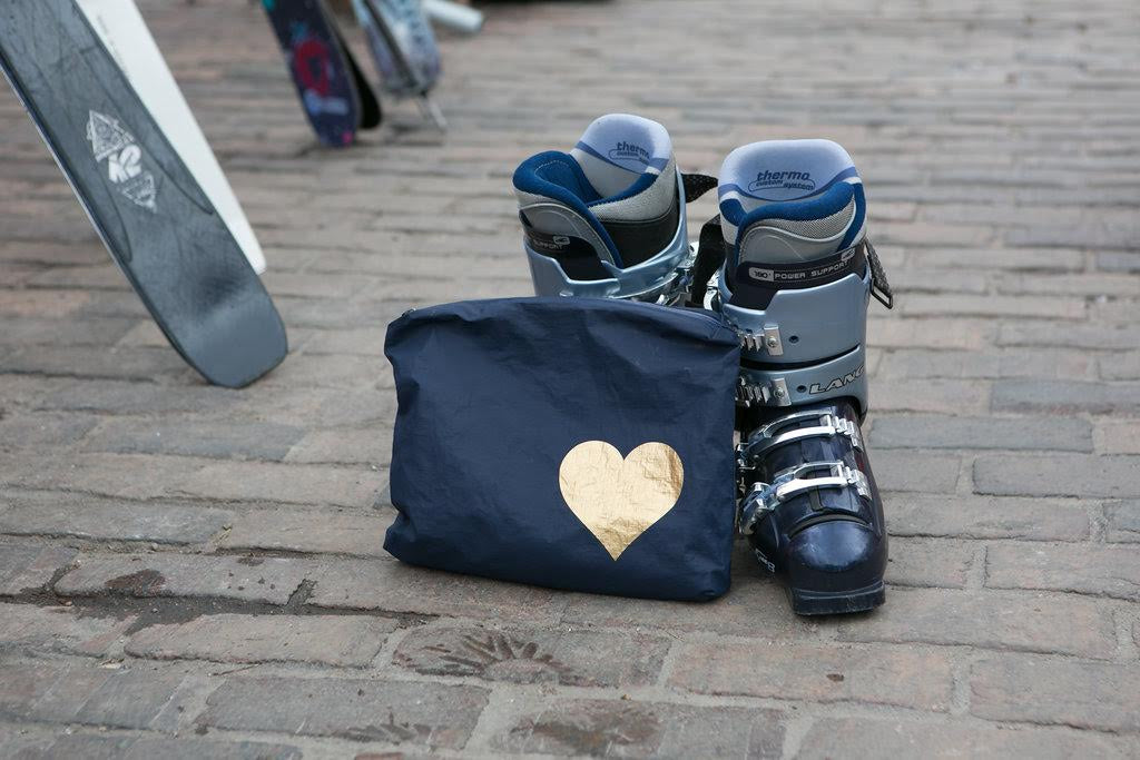 Makeup Pouch - Travel Pack - Medium Pack - Navy with Metallic Gold Heart