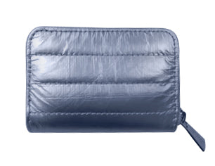 Puffer Zipper Wallet- Shimmer Navy