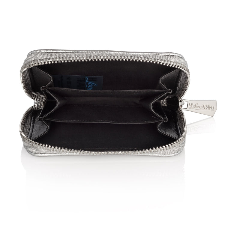 Puffer Zipper Wallet- Metallic Silver