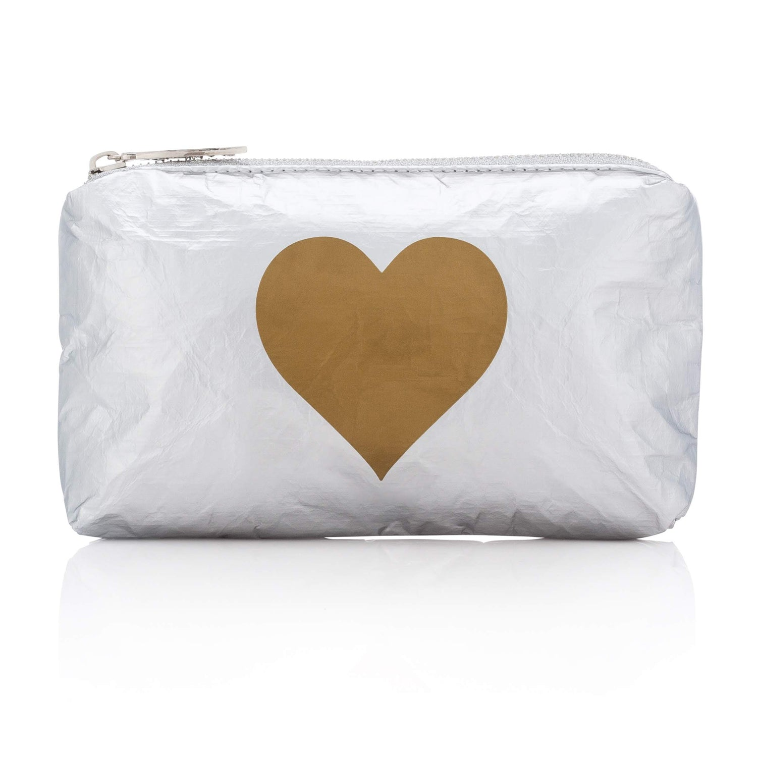 Cute Silver Clutch - Mini Padded Pack - Metallic Silver Collection with Gold Heart