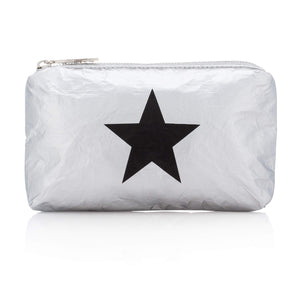 Hi Love Cute Mini Padded Pack - Small Makeup Bag - Metallic Silver with Black Star