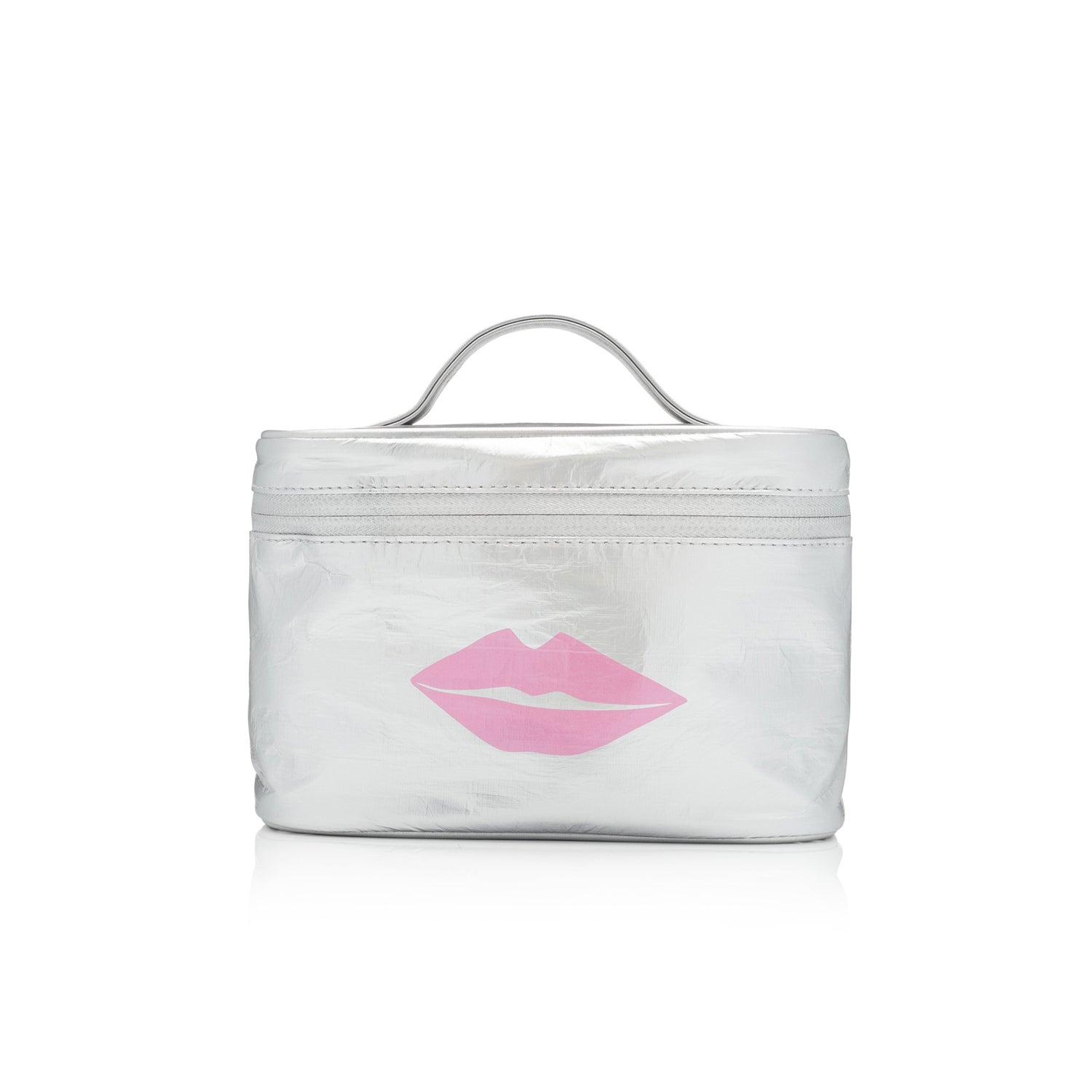 Last One! Cosmetic Case - Lunch Box - Silver with Pink Lips