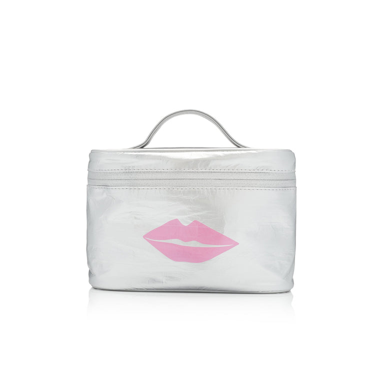 Makeup Carrier - Metallic Silver with Pink Lips