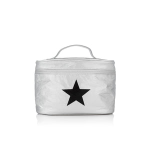 Cosmetic Case - Lunch Box - Metallic Silver with a Black Star