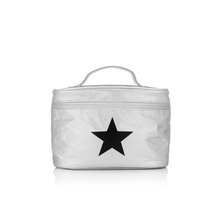 Makeup Carrier - Metallic Silver with a Black Star