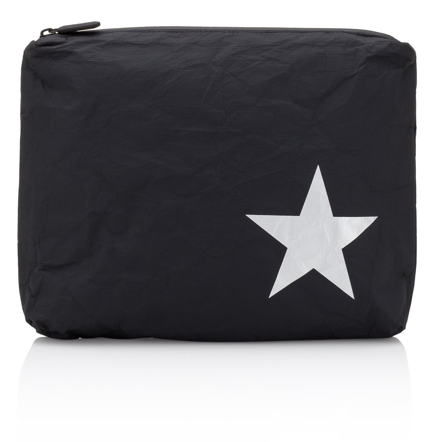 Makeup Pouch - Travel Pack - Medium Pack - Black with Silver Star