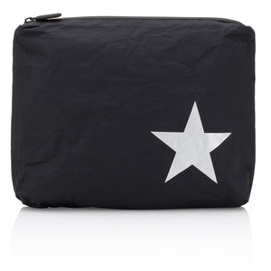 Makeup Pouch - Travel Pack - Medium Pack - Black with Metallic Silver Star