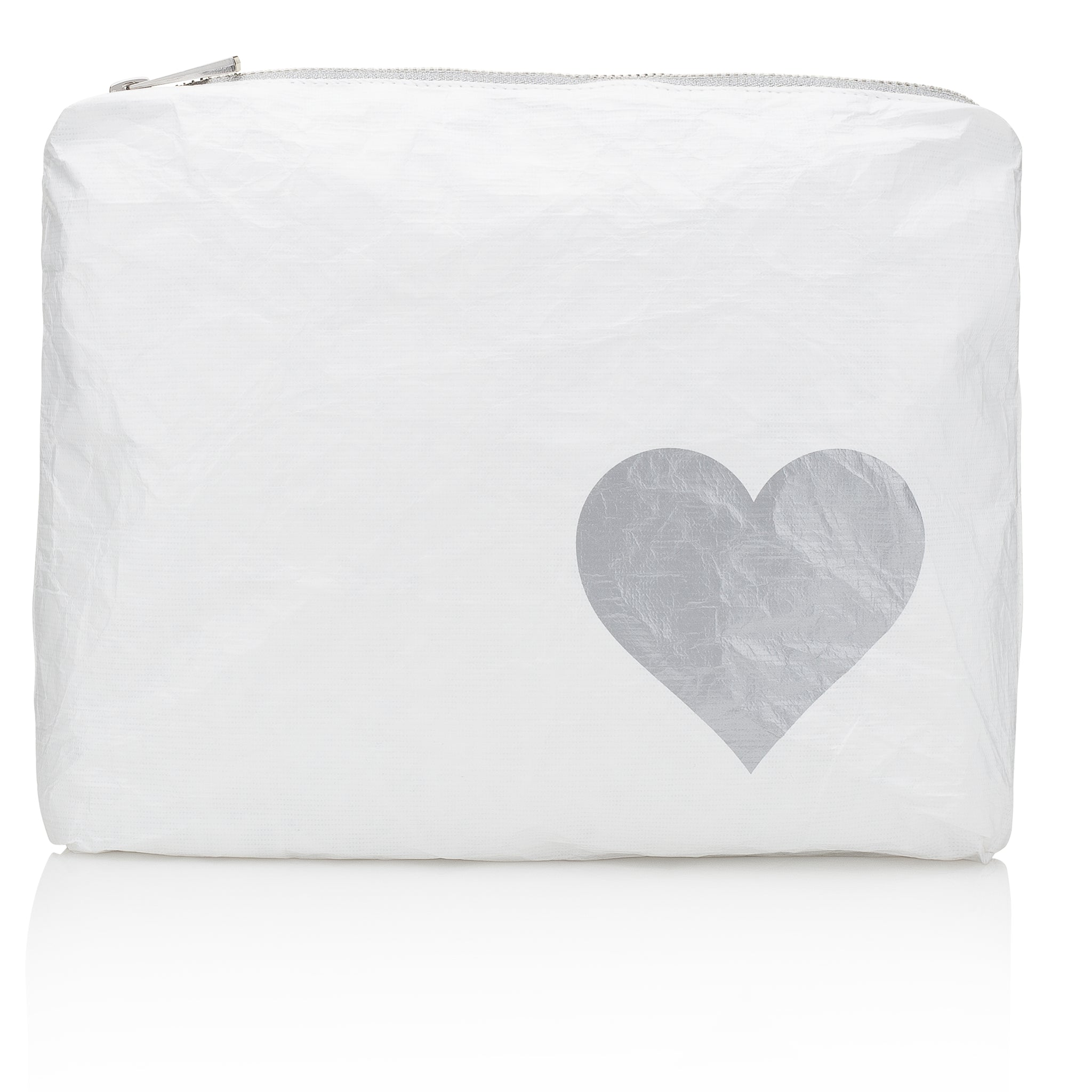 Makeup Pouch - Travel Pack - Toiletry Bag - Medium Pack - White with Silver Heart